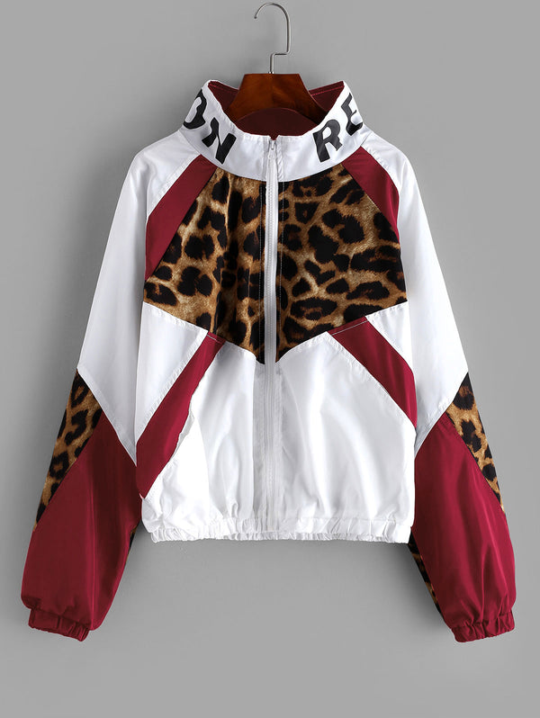 Leopard Jacket Women Zip Front Leopard Colorblock Windbreaker Jacket High Neck Outwear Streetwear Autumn Coats