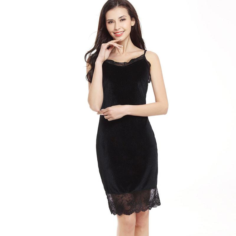 Spaghetti Strap Lace Patchwork Knee-length Dress