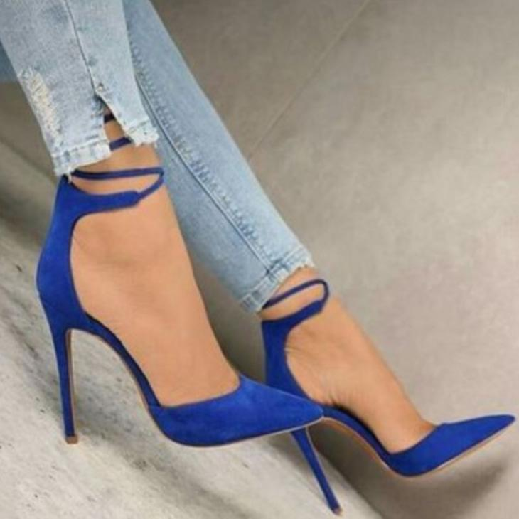 Suede Point Toe Lace Up Stiletto Heel Pumps