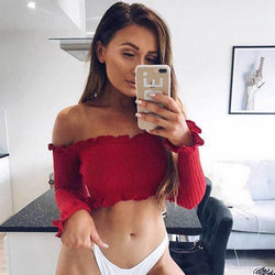 Sexy Off Shoulder Long Sleeve Flapper Cropped T-shirts