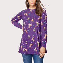 Christmas Print Long Sleeve Pullover Top