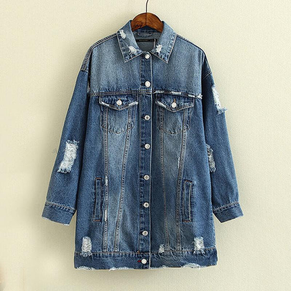 Casual Ripped Denim Shirt Jacket