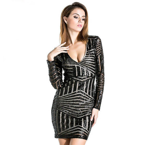Night Club V Neck Sequins Bodycon Dress