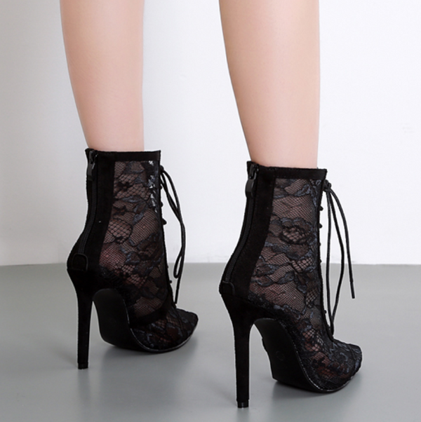 Black Lace Pointed Toe Strap High Heels Ankle Boots