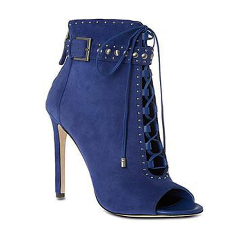 Denim Strap Peep Toe High Heel Ankle Boots