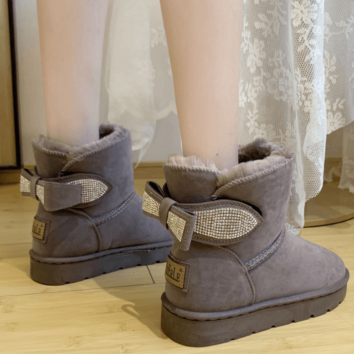 Rhinestone Flat Suede Like Uggs Ankle Boots