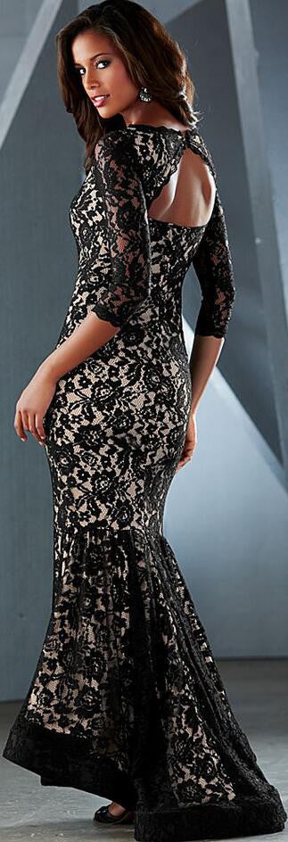 Sexy Black Lace Patchwork Bodycon Long Mermaid Dress