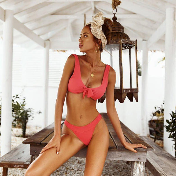 Straps Bow Square Neckline Low Waist Two Pieces Bikini
