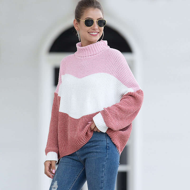 Turtleneck Colorblock Knit Chenille Sweater