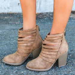 Ankle Chunky High Heel Cut Out Boots