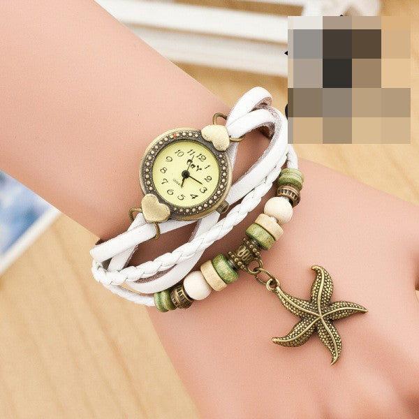 Heart Starfish Woven Bracelet Watch