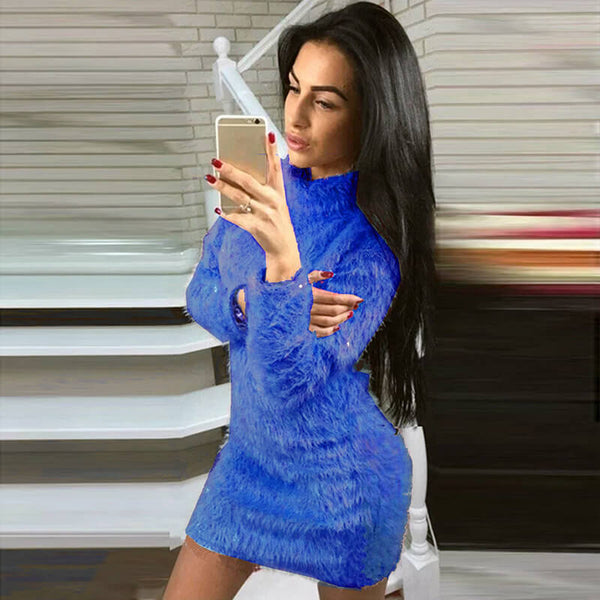 Turtleneck Fuzzy Pure Color Sweater Dress