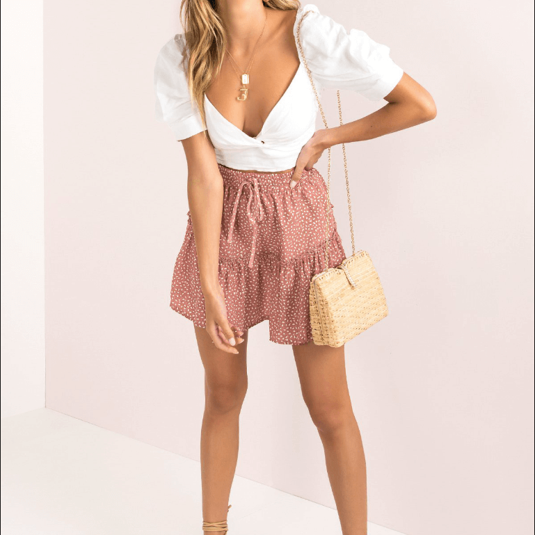 Cute Loose Dot Ruched Strap Mini Skirts