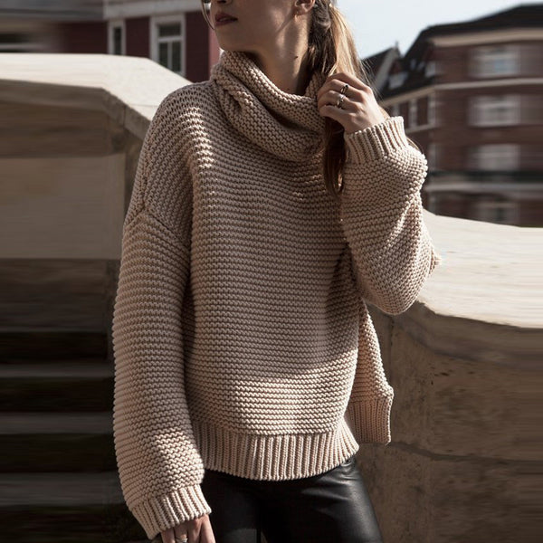 High Collar Pullover Pure Color Knit Sweater - May Your Fashion - 2