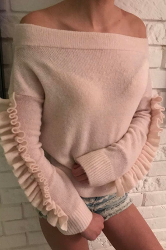 Ruffles Off Shoulder Long Sleeves Solid Color Sweater