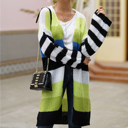 Striped Sleeve Rainbow Long Cardigan Sweater