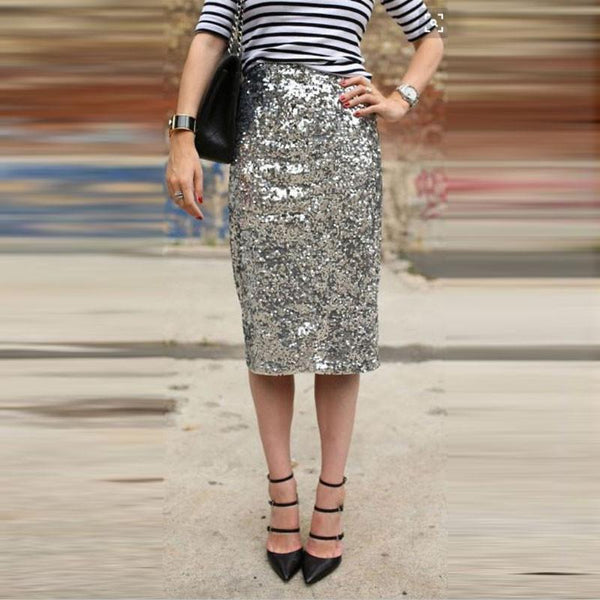 Silver Sequins Sexy Knee-Length Pencil Skirt