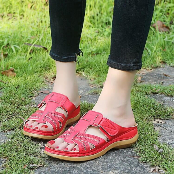 Summer Open Toe Flat Leather Buckle Slide Sandals