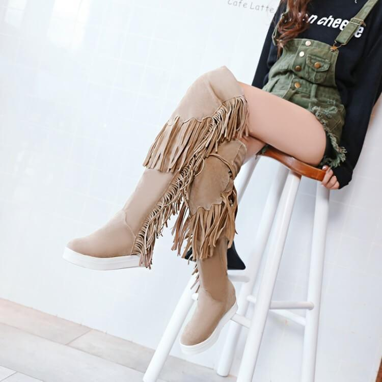 Flat Fringe Suede Knee High Boots