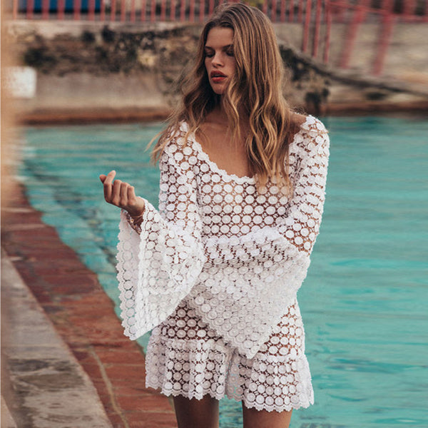 White Hollow Out Lace Short Dress