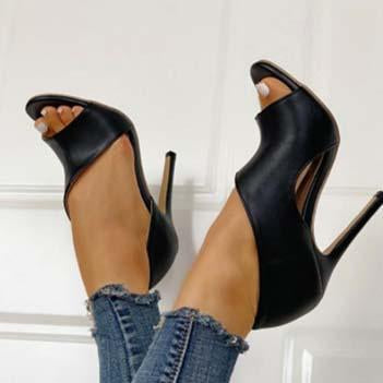 Black Leather High Heel Peep Toe Sandals