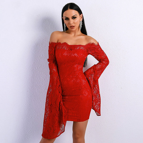 Off Shoulder Bell Sleeve Lace Dress
