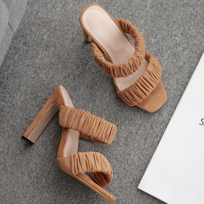 Block Heel Suede Square Toes Cutout Sandals