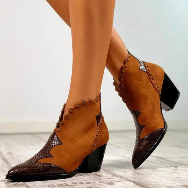 Suede Sequin Point Toe Chunky Heel Calf Boots