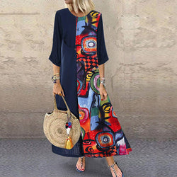 Colorblock Patchwork Loose Linen Dress