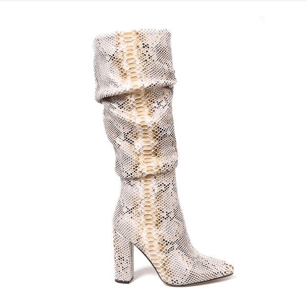 Snakeskin Leather Pointed Toe Fold Knee High Boots