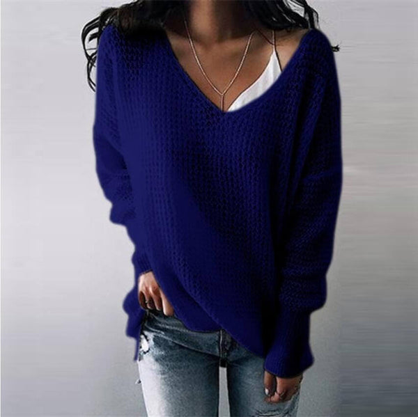Oversized Pure Color V Neck Pullover Sweater