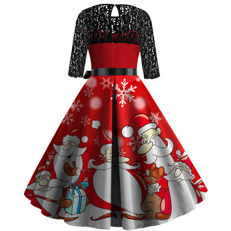 Christmas Retro Hollow Lace Splice Print Dress