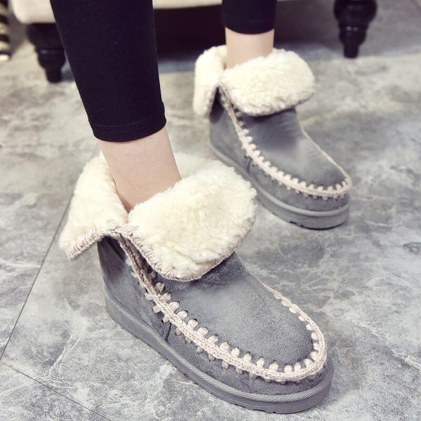 Round Toe Ankle Fashion Fur Flat Boots
