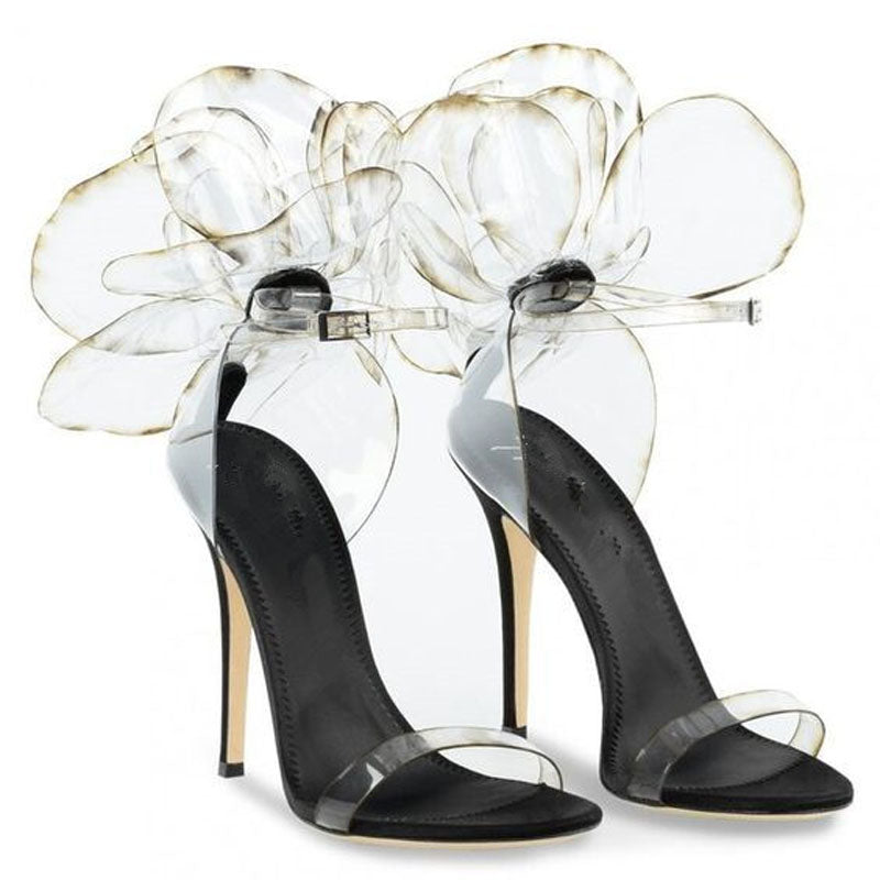 Party Flower Embellished Clear Open Toe High Heel Sandals