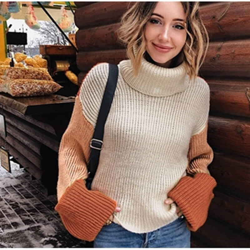 Loose Turtleneck Colorblock Knit Pullover Sweaters