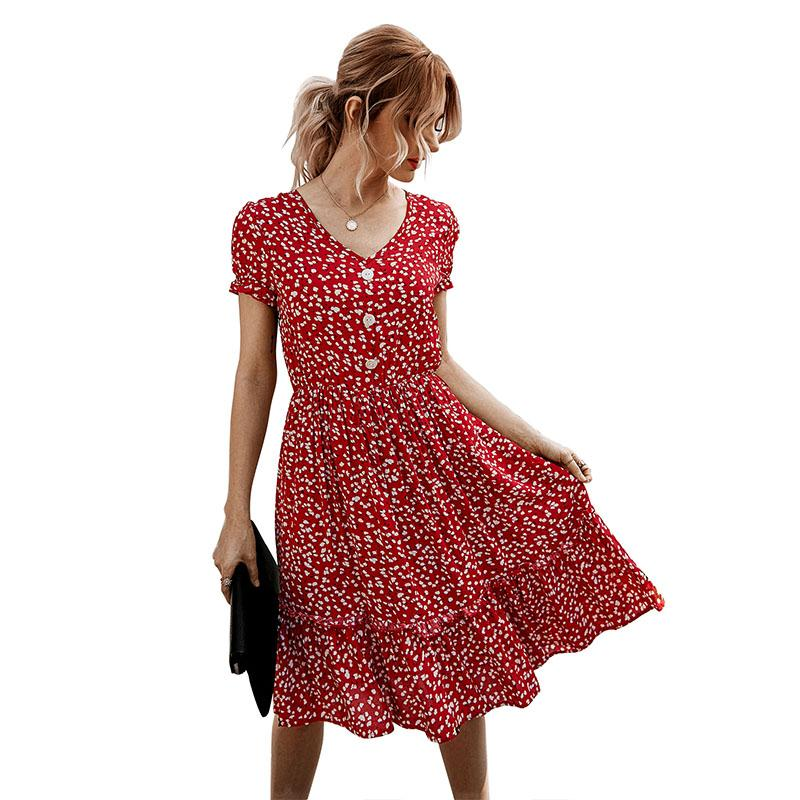 Short Sleeve Floral Knee Length Dress
