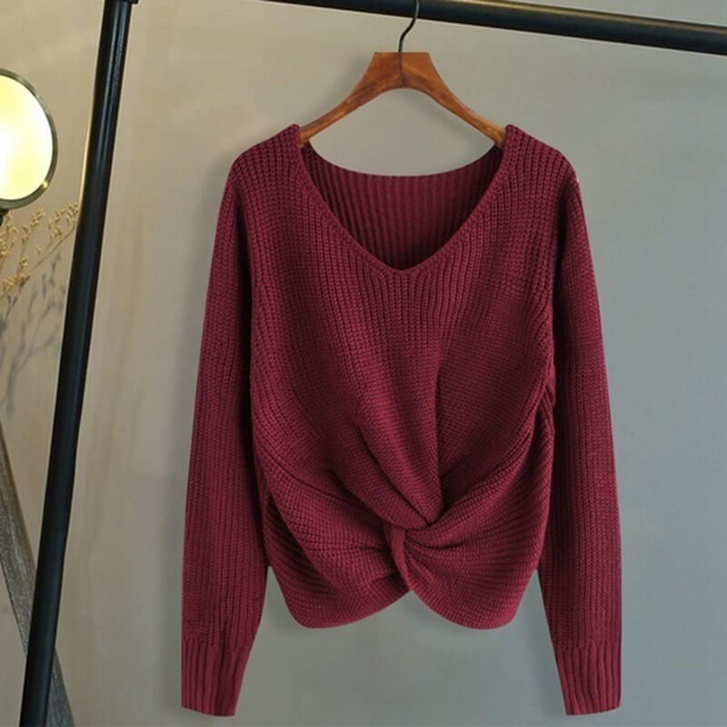 Tight V Neck Twist Hem Knit Top