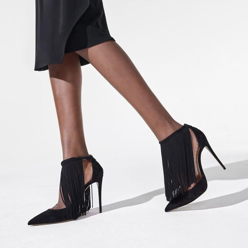 Sexy Suede Point Toe Fringe Buckle High Heels