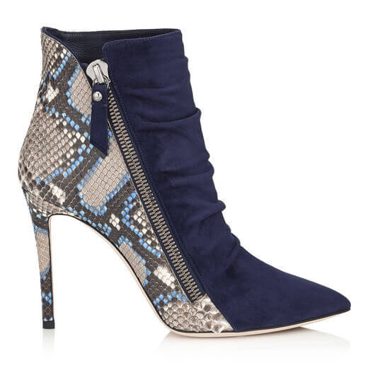 High Heel Suede Print Pointed Toe Ankle Boots