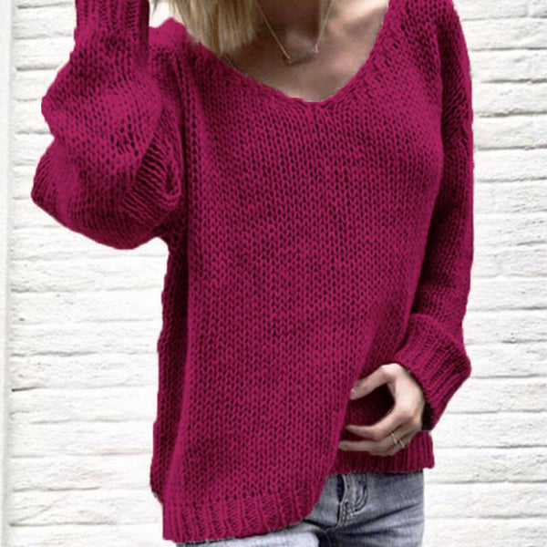 Oversized Pure Color V Neck Knit Sweater