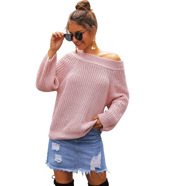 Off-the-Shoulder Wide Neck Loose Long Sleeve Women Sweater