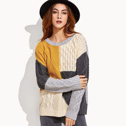 Oversized Colorblock Cable Knitted Sweater
