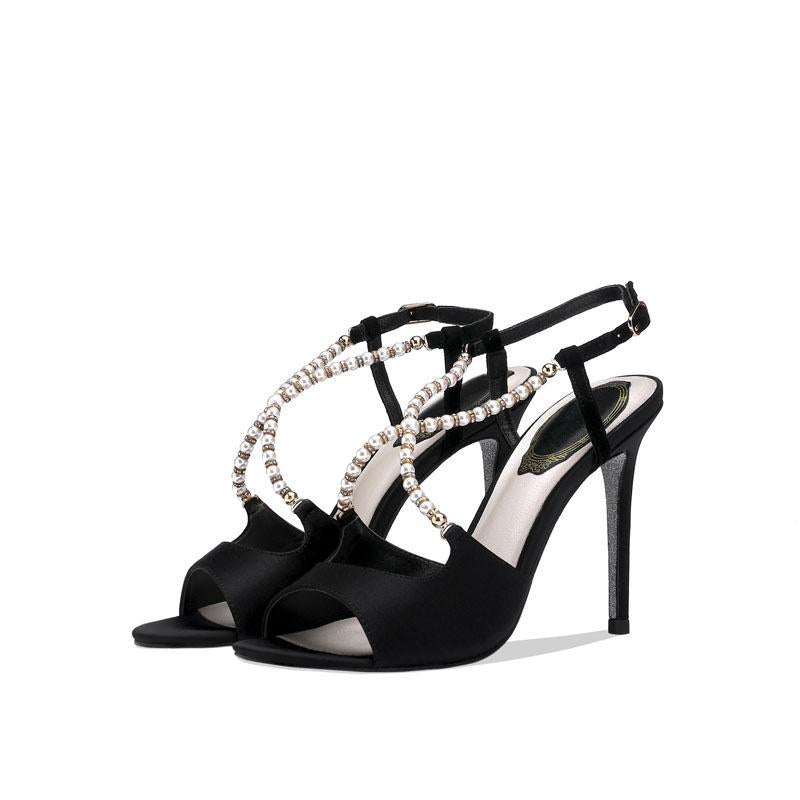 Sexy Peep Toe Cutout Buckle Rhinestone High Heel Sandals