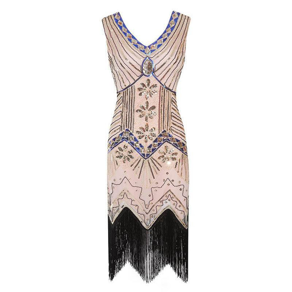 V Neck Sequins Fringe Dress