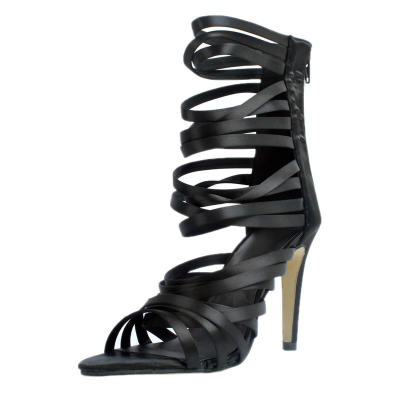 Black Leather Lace Up Zipper Sandals
