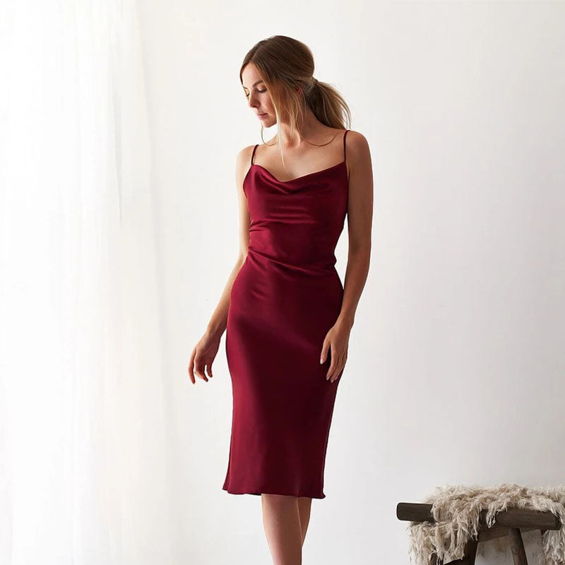 Satin Midi Slits Sling Dress