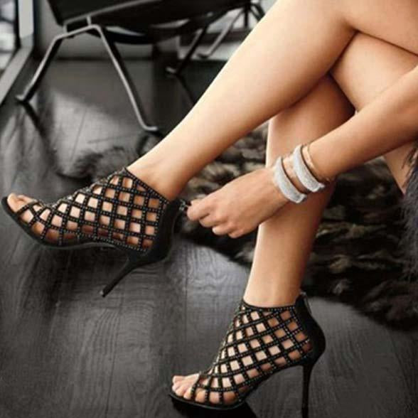 Black Suede Open Toe Cutout Sandals