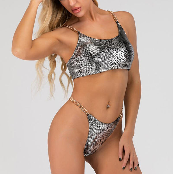 Hot Silver Stretch Chain Plain Thong Bottom Bikinis