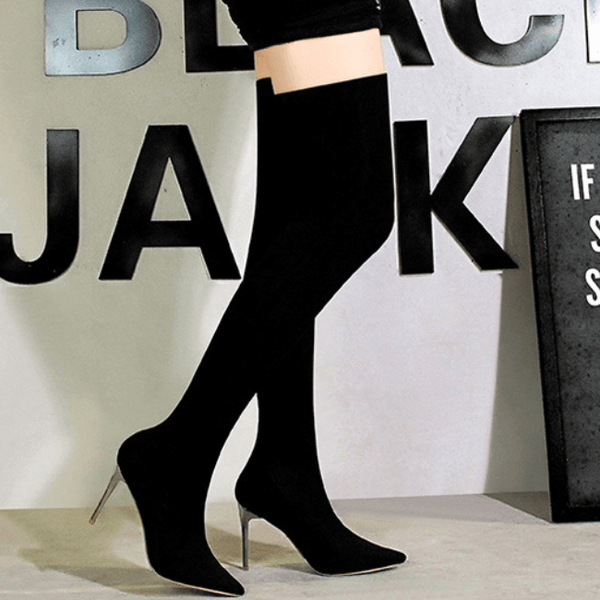 Black Point Toe Plain Stretch High Heel Over Knee Boots