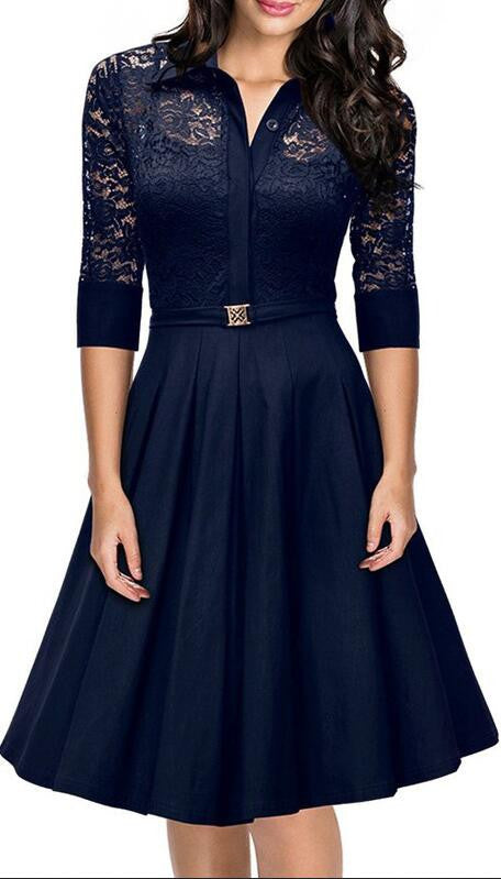 Fashion Lapel Hollow Out 3/4 Sleeve A-Line Knee-Length Dress